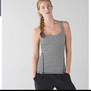Lululemon amala black&white striped tank size 6